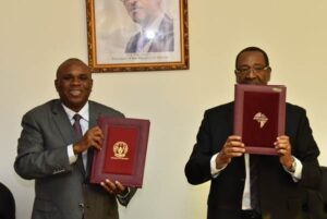 Afreximbank President Prof. Benedict Oramah (left) and His Excellency Alfred Kalisa, Ambassador of the Republic of Rwanda in Egypt after signing the Headquarters Agreement for FEDA.